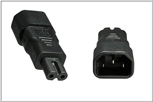 DINIC Stromadapter, Netzadapter C7 Euro-8 Stecker auf C14 Kaltgeräte-Buchse Adapter 3-pin auf 2-pin (1 Stück, schwarz)