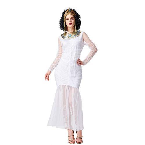 CGBF - Disfraz de diosa griega griega griega griega para Halloween, Navidad, carnaval, fiesta, fiesta, disfraz, blanco, L