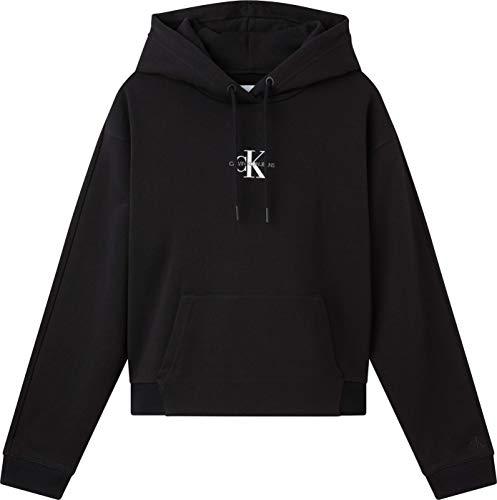 Calvin Klein Jeans Cropped Monogram Hoodie Maglia di Tuta, CK Black, Large Donna