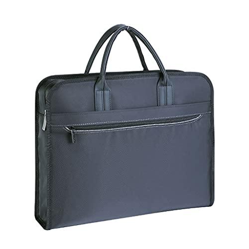 KTNG Portatile Cartella di Tela, Borsa per Laptop da 15 Pollici, con Scomparti, può Contenere Tazze di Acqua, Borsa da Ufficio Blu da Uomo, Ufficio di Business Adatto