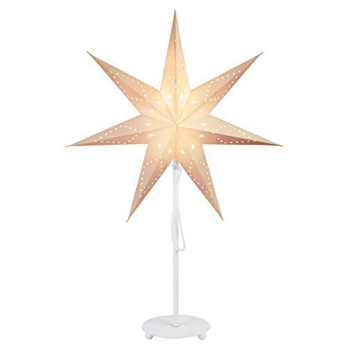 SALCAR Papierstern Ø 35 cm, LED-Tischlampe für Weihnachten, Inneneinrichtung, Beleuchtungslampe mit weißem Eisensockel und E27 Glühbirne, warmweiß