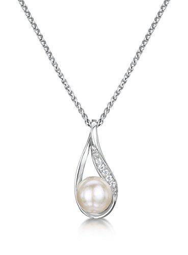 Just Jo Donna 925 argento Rotonda Rotonda perla cinesa da coltivazione bianco Perla Zirconia cubica FINENECKLACEBRACELETANKLET