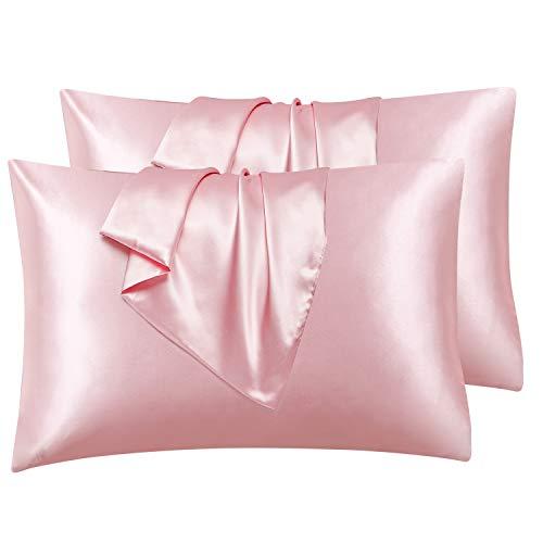 Hansleep Funda Almohada 50x75 cm de Satén Rosa, 4 Fundas Almohadas de Satén para Pelo Rizado - Juego de Protector Almohada 75x50 cm de Microfibra Suave Hipoalérgica, 4 Piezas sin Cremallera