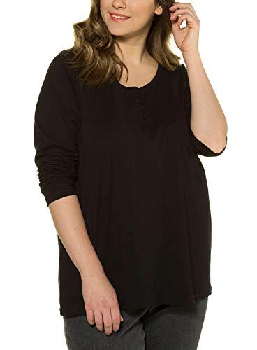 Ulla Popken Damen Shirt mit Knopfleiste, Langarm Bluse, Schwarz (Schwarz 10), 50/52 EU
