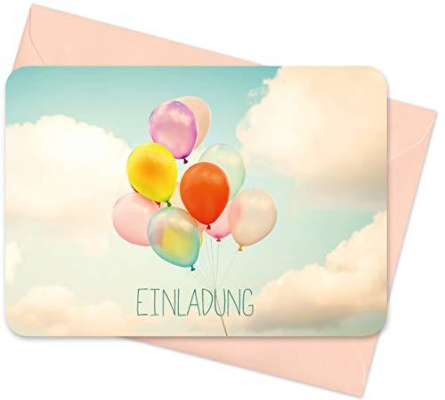 8er Set (inkl. Umschläge): Einladungskarten – Luftballons – für den Kindergeburtstag oder anderen Anlass – hochwertige Geburtstagseinladungen für Kinder, Mädchen, Teenager