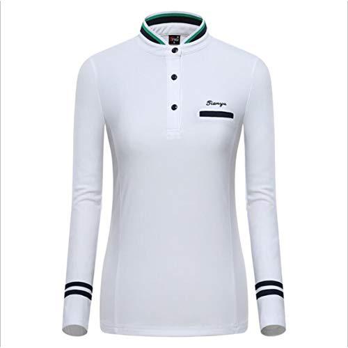 Bwchuxin Golf Polo Shirts Für Frauen, Quick-Dry Sportswear Langarm Golf Training T-Shirt Casual Sports Golf Shirts,Weiß,S