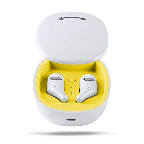 Yimiky Bluetooth Ohrhörer, Funkkopfhörer mit Ladekoffer Noise Cancelling Sportkopfhörer für den Betrieb von Bluetooth Ohrhörern Binaural HiFi-Drahtlosohrhörer für iPhone Samsung (Weiß)