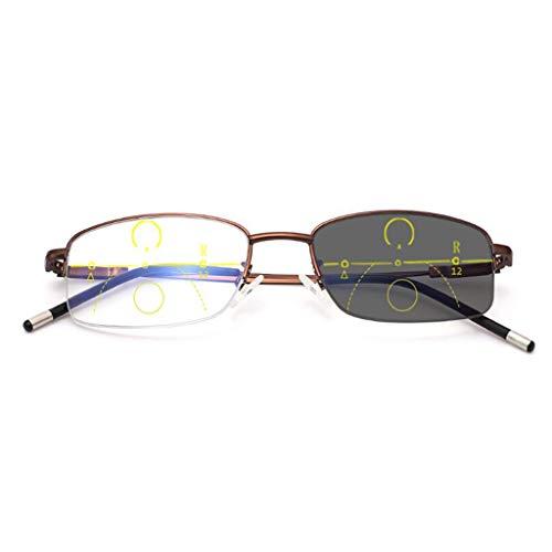 BWBZ Gafas de Lectura Fotocromáticas Gafas de Lectura Anti-Azules Lente Multifocal Progresiva Interna Alivia La Fatiga Ocular Ajuste Automático Se Puede Usar Mientras Se Camina