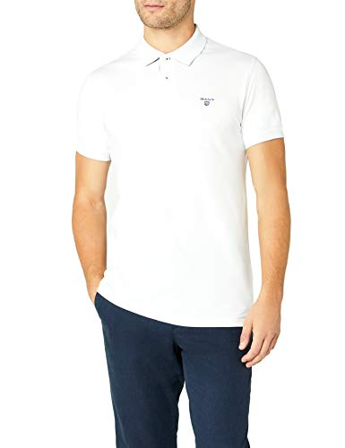 Photo of GANT Men's Contrast Color Pique Short Sleeve Polo Shirt, White,XX-Large