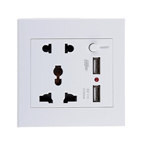 PC 2.1 A 2 USB Wall Socket Charger Power Panel Receptacle 5 Outlet Switch (White)