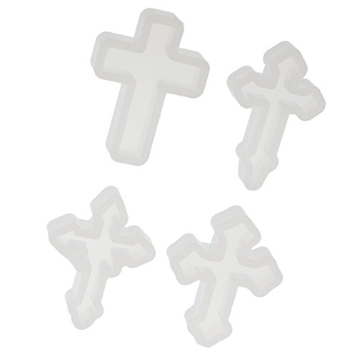 Jili Online 4 Pieces Cross Shape Silicone Pendant DIY Molds for Resin Casting Epoxy Handmade Crafts Jewelry Making