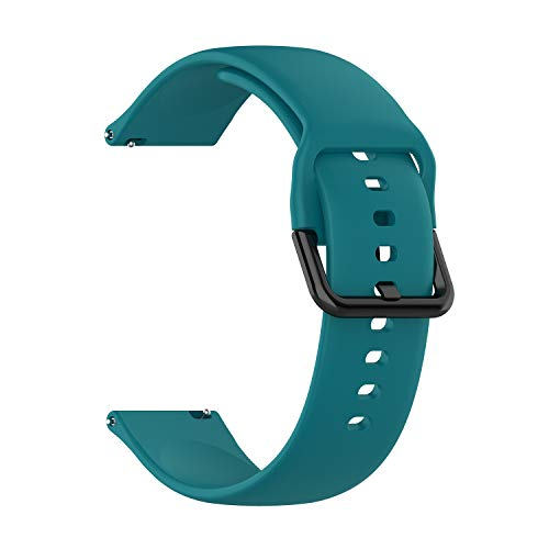 Turnwin 20mm Soft Silicone Watch Band Stainless Steel Buckle Strap for Samsung Galaxy Watch Active SM-R500,Bands for Men and Women Multiple Colors Small and Large (Green)