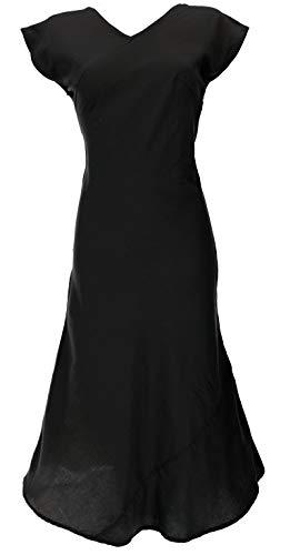 Guru-Shop Langes Sommerkleid, Boho Chic Leinenkleid, Damen, Schwarz, Baumwolle, Size:S (36), Lange & Midi-Kleider Alternative Bekleidung