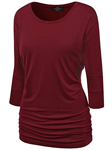 Made By Johnny MBJ WT822 Womens 3/4 Sleeve with Drape Top XL Wine