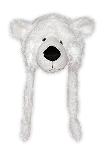 Eisbär Mütze - weiß, mit Bärenkopf aus Velourplüsch