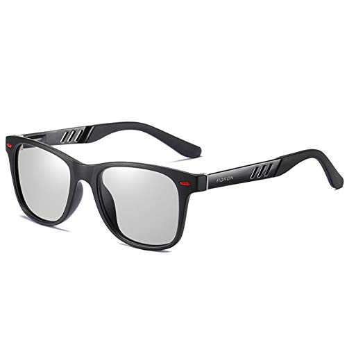 Burenqi Gafas de Sol fotocromáticas de conducción clásica Hombres Decoloración camaleón polarizado Gafas de Sol,Sand Black