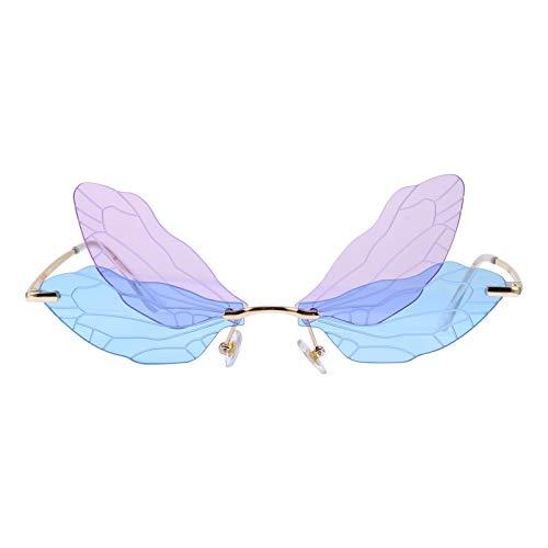 VALICLUD Libellenflügel Sonnenbrillen Personalisierte Unregelmäßige Brillen Mode Brillen für Frauen Mädchen Lila Und Blau
