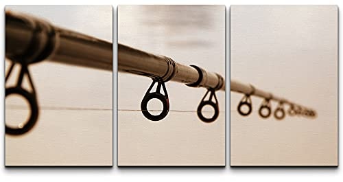 """wall26 - 3 Piece Canvas Wall Art - Fishing Rod Against The Water Surface - Modern Home Decor Stretched and Framed Ready to Hang - 16""""x24""""x3 Panels"""