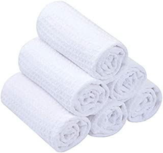 SINLAND Microfiber Washcloth Makeup Remover Cloth Waffle Weave Facial Cleansing Cloth Face Cloth and Body Cloths 6 Pack 13 Inch X 13 Inch White