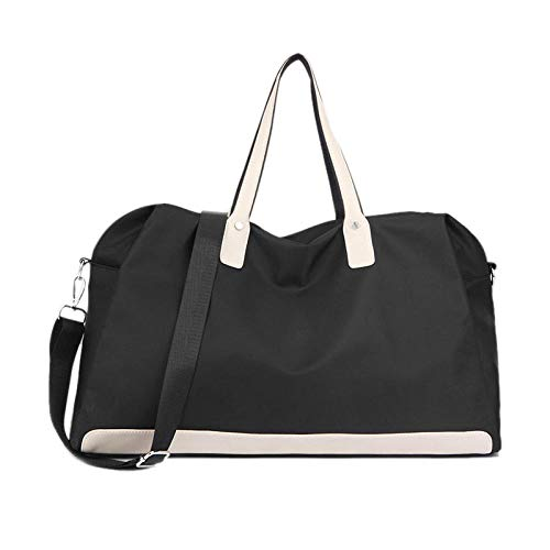 Maleta de equipaje impermeable para mujer, bolsas de viaje grandes, bolsa de lona para cabina de ocio, bandolera, bolsos de hombro deportivos de fin de semana, negro