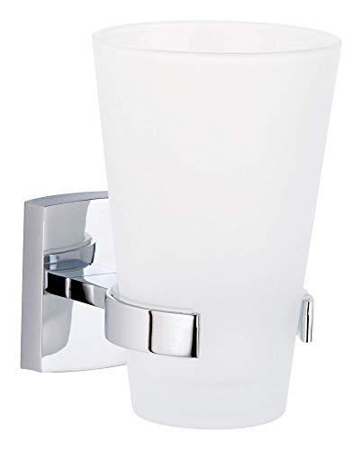 Tesa klaam Zahnbürstenhalter (inkl. Klebelösung, verchromt, rostfrei, 124mm x 80mm x 110mm)