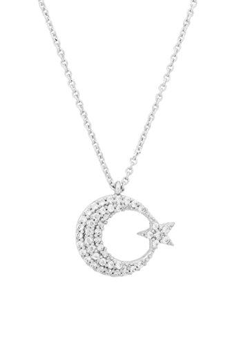 Remi Bijou - Halbmond mit Stern Halskette Kette mit Zirkonia Strass Stern Ay Yildiz Mond Star