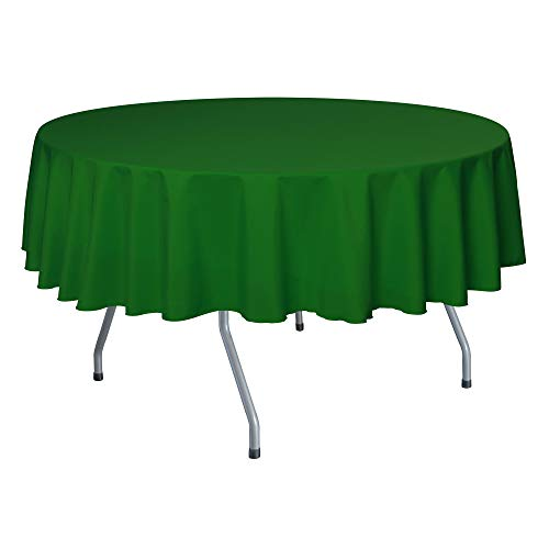 Ultimate Textile -10 Pack- 72-Inch Round Polyester Linen Tablecloth - for Wedding, Restaurant or Banquet use, Emerald Green
