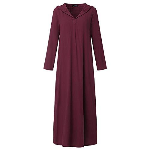 N\P Vestido de manga larga con capucha para mujer, vestido de lino de algodón vintage