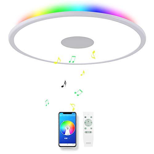 CHYSONGOODS (Doppellautsprecher) 36W 50cm Kreis LED Deckenleuchte Mit Bluetooth Lautsprecher Dimmbare Deckenlampe Fernbedienung Farbwechsel Innenbeleuchtung Für Schlafzimmer Esszimmer