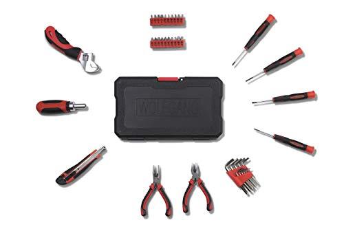 WOLFGANG 40- delige gereedschapskoffer, Schroevendraaier, Sleutel, Bitset Torx, Tang, Stanleymes, Bektang, Knijptang, Basisuitrusting voor huishouden, Auto, Werkplaats, Gereedschapskoffer gevuld