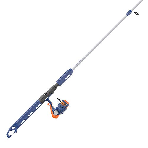 """Zebco Wilder Spinning Reel and Fishing Rod Combo, 4'3"""" 2-Piece Durable Fiberglass Rod with Built-in Carabiner, Patented No-Tangle Reel, Pre-Spooled with 6-Pound Zebco Cajun Fishing Line, Blue/Orange"""