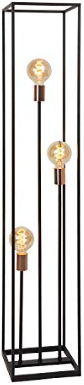 Lucide ARTHUR Stehlampe, Metall, 120 W, Schwarz, Kupfer