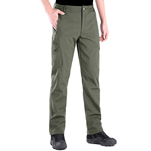 FREE SOLDIER Herren Winter Thermo Skihose Softshell Vlies Gefüttert Outdoor Hose Taktische Wasserdicht Langlaufhose für Jagd Trekking und Fahrrad(Grün,56)