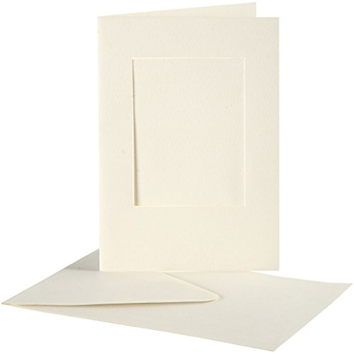 Passepartoutkarten, Kartengröße 10,5x15 cm, off-white, rechteckig, 10 Sets