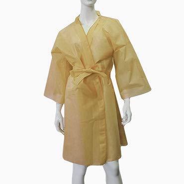 Kimono jetable doré avec ceinture et poche (10 pièces)