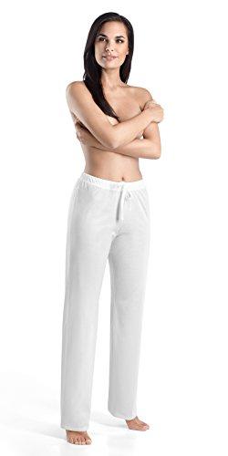 HANRO Pantalón de pijama largo de algodón con cordón para mujer, Pantalones de pijama de algodón con cordón, S, Negro