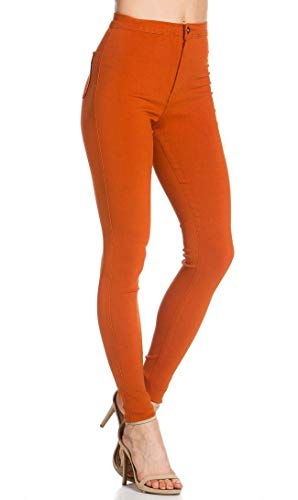 SOHO GLAM Super High Waisted Stretchy Skinny Jeans in 10 Colors (S-XXXL) Rust