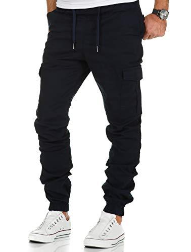 Amaci&Sons Herren Stretch Jogger Cargo Chino Jeans Hose 7006 Navyblau W31