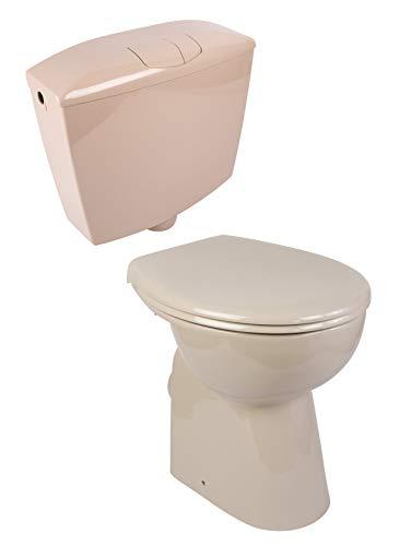 Calmwaters® - Elements Wellness - Erhöhtes Stand-WC ohne Spülrand im Set mit Spülkasten und WC-Sitz in Beige-Bahamabeige - 99000188