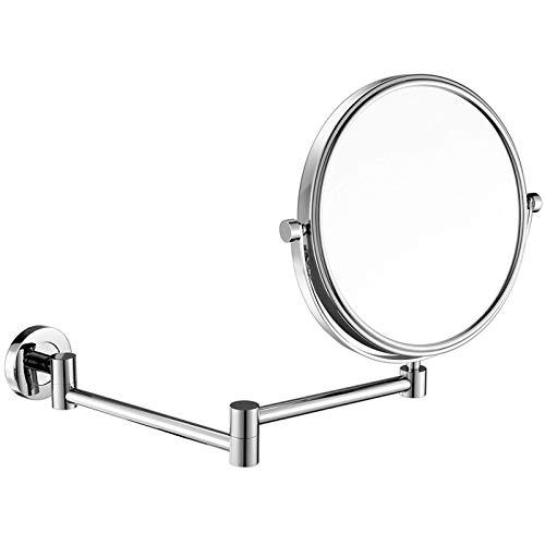 DCLINA Espejos Maquillaje para Mujer montados en la Pared, Espejos tocador Doble Cara cromados 8 Pulgadas con Lupa, Espejos giratorios 360 ° Extensibles Ajustables para baño, Cromo, 7X