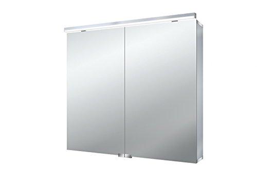 emco asis Lichtspiegelschrank Flat 800mm, 2 Türen, LED neutral Weiß 4000k