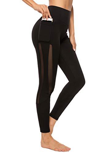 FITTOO Mallas Leggings Mujer Yoga de Alta Cintura Elásticos y Transpirables para Yoga Running Fitness B-Negro Large