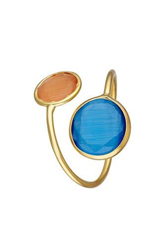 Córdoba Jewels | Anillos en Plata de Ley 925 bañada en Oro con diseño Doble Gran Dolce Bicolor Calcedonia & Naranja Gold