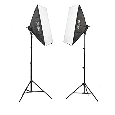 """Fovitec - 2-Light 3200W Fluorescent Lighting Kit for Photo & Video with 24""""x36"""" Softboxes, stands, & Carry Bag"""