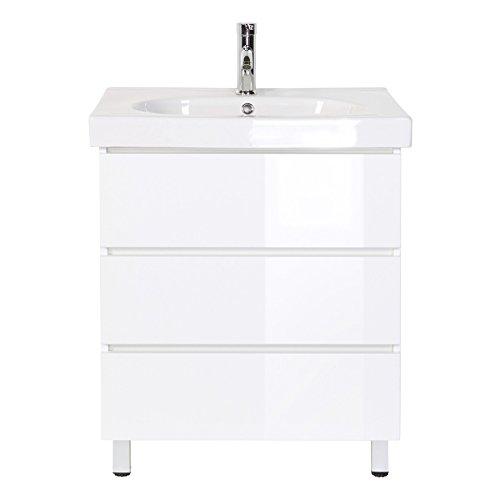 Waschplatz Stand Grifflos Standmöbel inkl. Mineralguss-Waschbecken in Hochgl. weiß ideal für Gäste-WC (breite 70 cm)