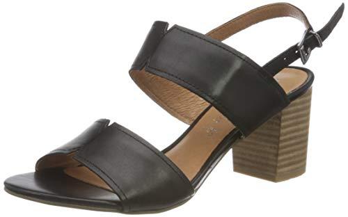 Marco Tozzi Damen 2-2-28301-26 Leder Sandale mit Absatz, Black Antic, 38 EU