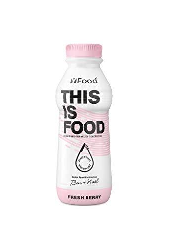 YFood Beere | Laktose- und glutenfreier Nahrungsersatz | 34g Protein, 26 Vitamine und Mineralstoffe | Leckere Astronautennahrung - 25{29b5268df5b2cf52fec406bf5cfd2e5d28836c4fec61073383b44c87dbcb2541} des Kalorienbedarfs | Trinkmahlzeit, 12 x 500 ml (1 kcal/ml)