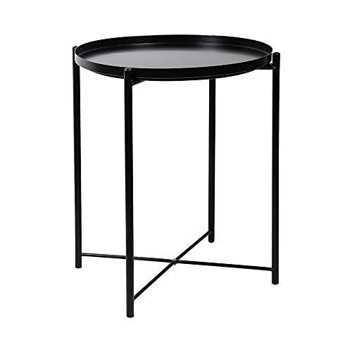 YX-lle Home - Mesa de café redonda de metal para mesa auxiliar de noche, mesa auxiliar de café, mesa auxiliar con bandeja extraíble de 44 cm, para sala de estar o dormitorio Negro