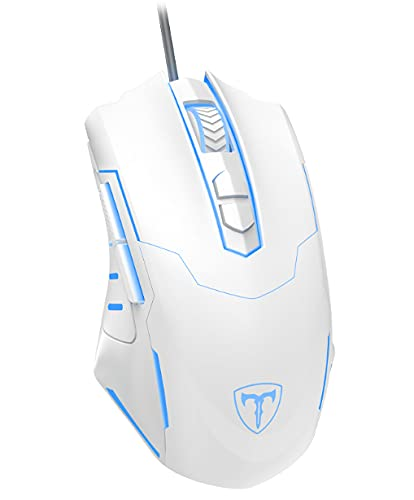 PICTEK Gaming Mouse Wired [7200 DPI] [Programmable] [Breathing Light] Ergonomic Game USB Computer Mice RGB Gamer Desktop Laptop PC Gaming Mouse, 7 Buttons for Windows 7/8/10/XP Vista Linux, White