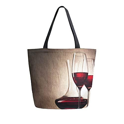 COZYhome Bolso de lona grande de vino tinto con pintura artística, bolsas reutilizables para compras, bolsa de hombro, bolso de hombro para mujer, trabajo, escuela
